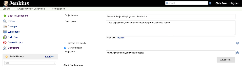 Basic job information screenshot