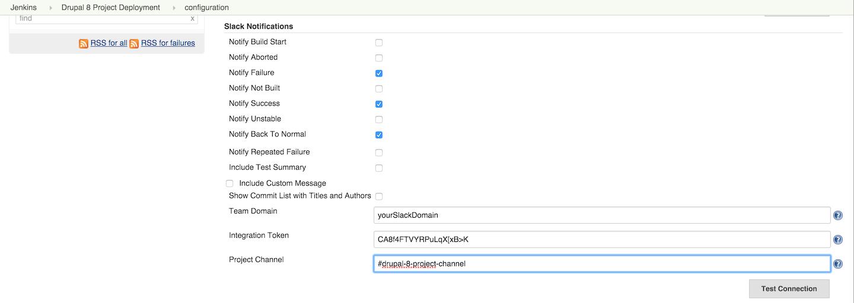 Slack notifiation settings