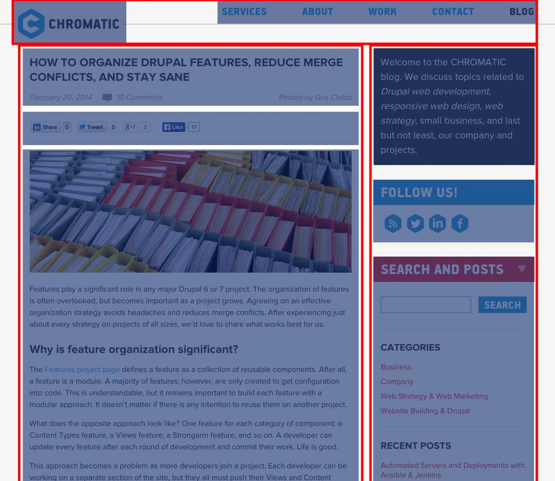 A screenshot of a CHROMATIC blog article with regions outlined and components highlighted