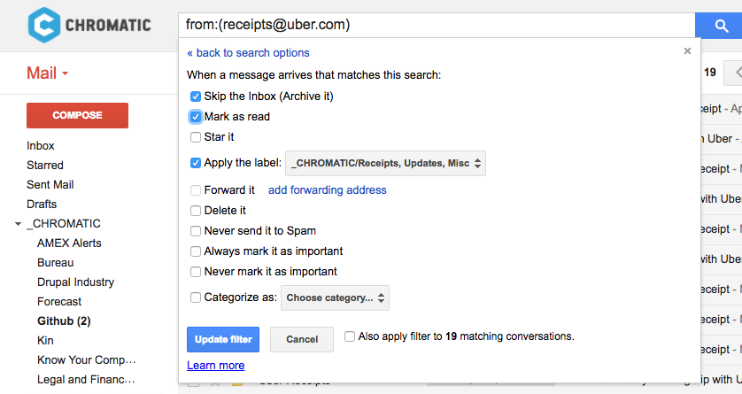 Gmail email filter